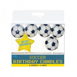 5 Bougies Ballons de Foot Avec Etoile Happy Birthday