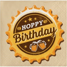"""16 Serviettes Fête de la Bière """"Happy Birthday"""" 25 cm"""