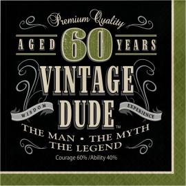 16 Serviettes 60 ans Vintage 33 cm