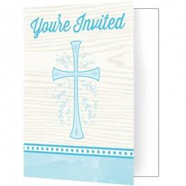8 Invitations Croix Bleu