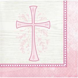 16 Servillettes Croix Rose 25 Cm