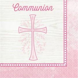 16 Servillettes Communion Croix Rose 33 Cm