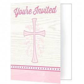 8 Invitations Croix Rose