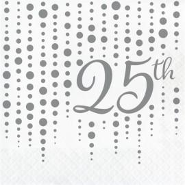 16 Serviettes 25 ans Argent à Pois 33 cm