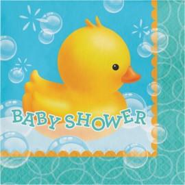 16 Serviettes motifs Canard pour Baby Shower 33 cm