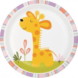 8 Plats Motif Jungle avec Girafe 18 cm