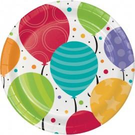 8 Assiettes Balloon Party 18 cm