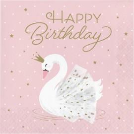 """16 Serviettes Cygne """"Happy Birthday"""" 33 cm"""