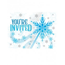 8 Invitations Flocons de Neige