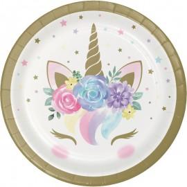 8 Assiettes Bébé Licorne 18 cm