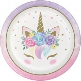 8 Assiettes Bébé Licorne 23 cm