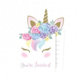 8 Invitations Bébé Licorne