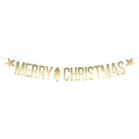 Bannière Merry Christmas Dorée 10,5 x 150 cm