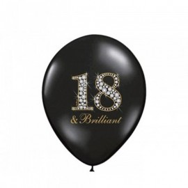 6 Ballons 18 ans Brillants 30 cm