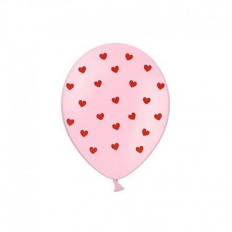 6 Ballons Coeurs Roses 30 cm