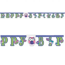 Guirlande Happy Birthday Hibou