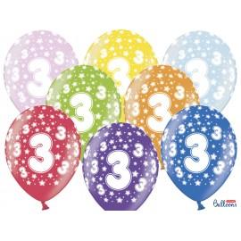 Ballons Chiffre 3 Ronds 32 cm