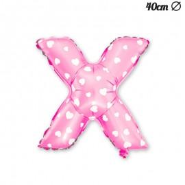 Ballon Lettre X Rose Avec Coeurs 40 cm