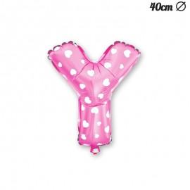 Ballon Lettre Y Rose Avec Coeurs 40 cm
