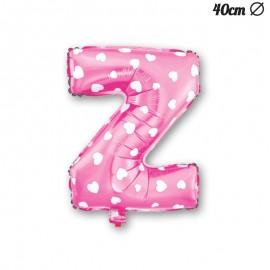 Ballon Lettre Z Rose Avec Coeurs 40 cm