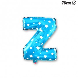 Ballon Lettre Z Bleu Avec Etoiles 40 cm