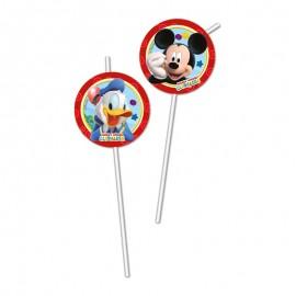 6 Pailles Médaillon Mickey Mouse