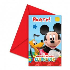 6 Cartes d'Invitation Mickey Mouse