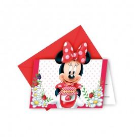 6 Cartes Invitation Minnie Mouse Jardin