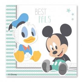 20 Serviettes Baby Mickey 33 cm