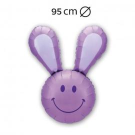 Ballon Forme De Lapin Souriant En Mylar 95 Cm