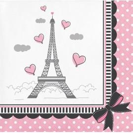 """18 Serviettes """"Sweet 16 Paris"""" 33 cm"""