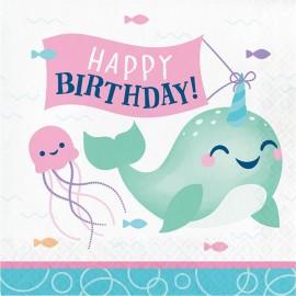 16 Serviettes Happy Birthday Licorne Baleine 33 cm