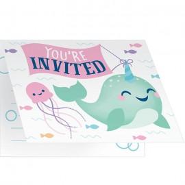 8 Invitations Licorne Baleine