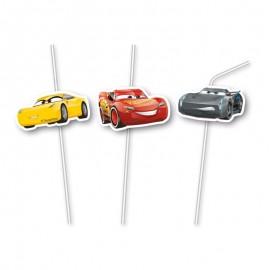 6 Pailles avec Médaillons Cars 3