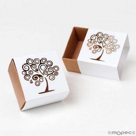 Boîte en Papier Carrée Arbre de vie, 6 x 4 x 6 cm