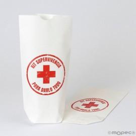 Sachet en Papier Blanc Kit de Survie 12 x 21 x 5 cm