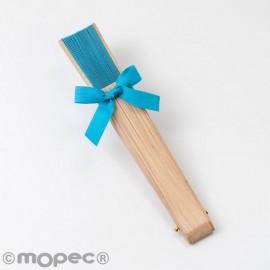 Éventail en Bois Naturel et Tissu Turquoise 23 cm