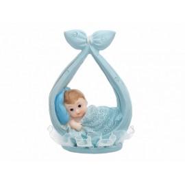 Figurine Bébé Garçon dans un Foulard Bleu