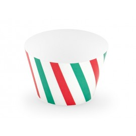 6 Contours à Cupcakes à Rayures Rouges et Vertes