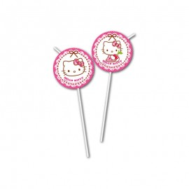 6 Pailles Médaillons Hello Kitty