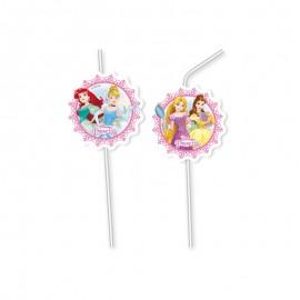 6 Pailles Médaillons Princesse Disney