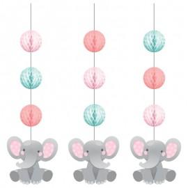 3 Suspensions d'Éléphant Rose