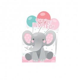 8 Invitations d'Éléphant Rose