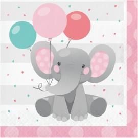 16 Serviettes d'Éléphant Rose 33 cm