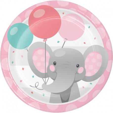8 Assiettes d'Éléphant Rose 18 cm