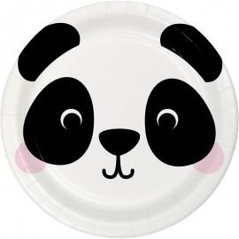8 Assiettes Panda Visages d'Animaux 23 cm