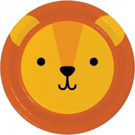 8 Assiettes Lion Visages d'Animaux 23 cm