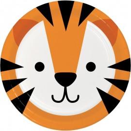 8 Assiettes Tigre Visages d'Animaux 18 cm