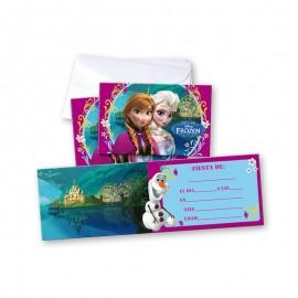6 Invitations Reine des Neiges avec Enveloppes