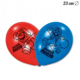 6 Ballons en Latex Super Mario 23 cm